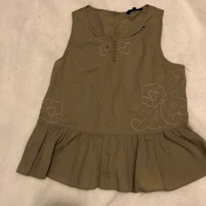 NWOT Madewell size small peplum top in army green